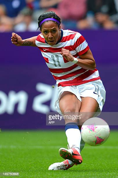 United States's forward Sydney Leroux scores the second goal during the London 2012 Olympic Games women's football match between the USA and New...