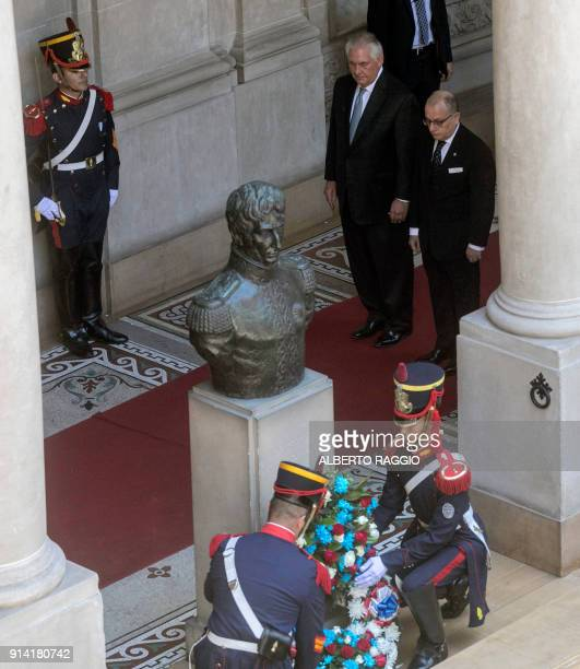 United States's Secretary of State Rex Tillerson stands next to Argentina's Foreign Minister Jorge Faurie at the Argentinian Republic State...