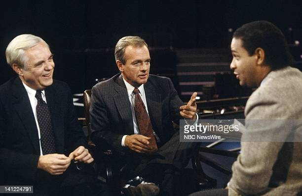 TODAY United States–Soviet Union Summit 1987 Pictured Political strategist John Sears political analysts Bob Squier NBC News' Bryant Gumbel during...