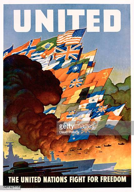 United The United Nations Fight for Freedom Poster by Leslie Darrell Ragan