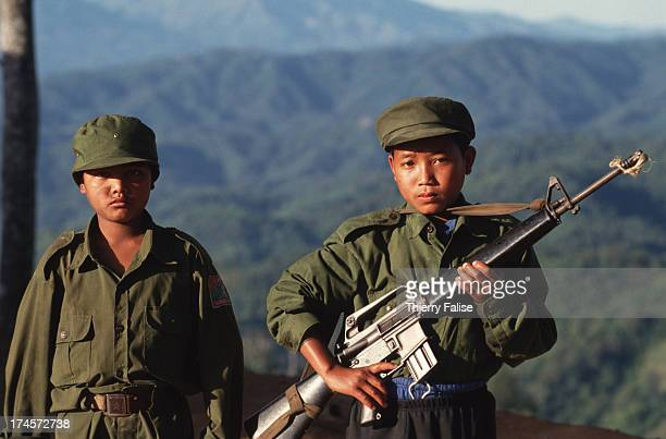 United Wa State Army child-soldiers in a base of the southern Wa State near the Thai border..