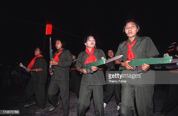 United Wa State Army women soldiers putting on a show for Chinese New Year in Maung Yawn the new southern Wa city said to be built mostly with drug...