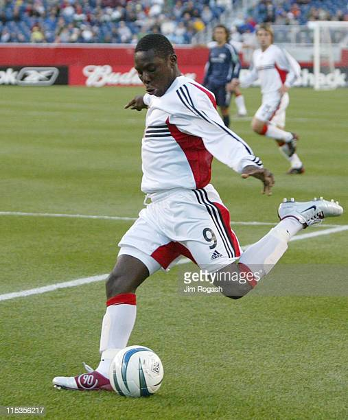 United's Freddy Adu shoots on the New England Revolution at Gillette Stadium, Saturday, May 29 in Foxboro, Massachusetts. D.C. United won the game...