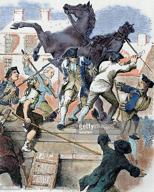 Unites States American War of Independence American revolutionaries toppling the statue of the English King George III who after being fused was...