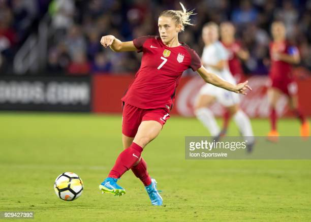 Unites States defender Abby Dahlkemper basses back to Unites States goalkeeper Alyssa Naeher during the SheBelieves Cup between United States and...