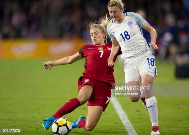 Unites States defender Abby Dahlkemper clears a ball during the SheBelieves Cup between United States and England on March 7th 2017 at Orlando City...