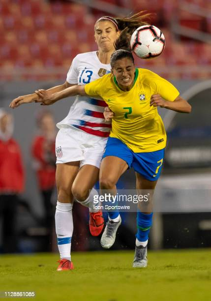 Unites States forward Alex Morgan and Brazil defender Leticia S during the She Believes Cup match between the USA and Brazil on March 5 2019 at...