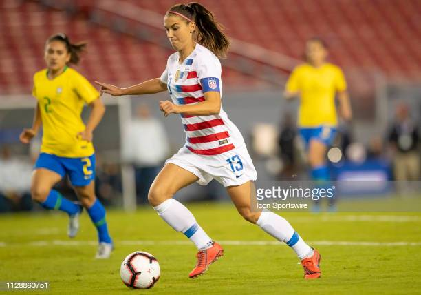 Unites States forward Alex Morgan during the She Believes Cup match between the USA and Brazil on March 5 2019 at Raymond James Stadium in Tampa Fl