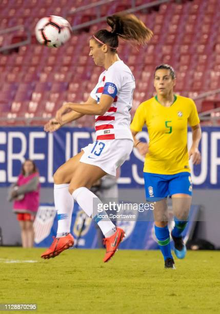 Unites States forward Alex Morgan heads the ball during the She Believes Cup match between the USA and Brazil on March 5 2019 at Raymond James...