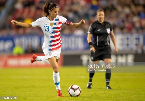 Unites States forward Alex Morgan passes the ball during the She Believes Cup match between the USA and Brazil on March 5 2019 at Raymond James...