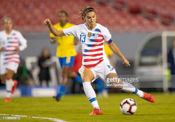 Unites States forward Alex Morgan shoots the ball during the She Believes Cup match between the USA and Brazil on March 5 2019 at Raymond James...