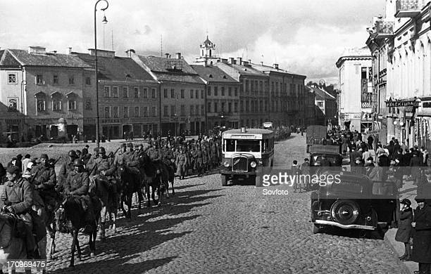 Units of the red army on the streets of vilno , vilno, capital of lithuania, was annexed by poland between 1920-1939, occupied by soviet army in...