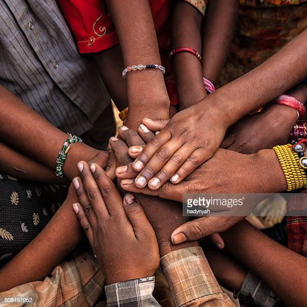 unity of indian children, asia - orphan stock pictures, royalty-free photos & images