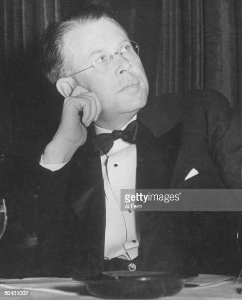 Univ of CA Berkeley physics professor Dr Ernest O Lawrence winner of 1939 Nobel Prize in Physics wearing tuxedo prob at awards ceremony
