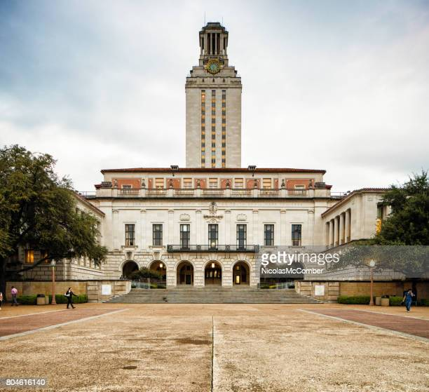 univeristy of texas at austin main building with clock tower - university of texas at austin stock pictures, royalty-free photos & images
