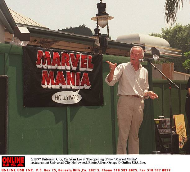 "5/19/97 Universal City, Ca Stan Lee at the ""Marvel Mania"" restaurant at Universal City Hollywood."