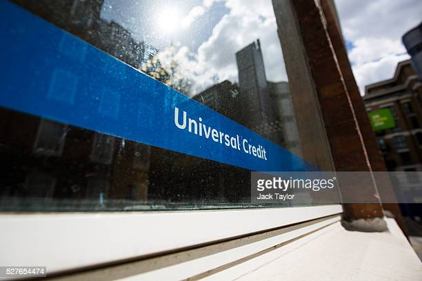 Universal Credit sign in a Job Centre in Westminster on May 3 2016 in London England The Resolution Foundation chaired by former Conservative...