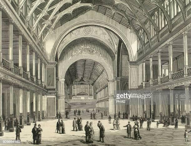 Universal Exhiibiton of Melbourne 1880 Australia Exhibition centre Main gallery Engraving 'La Ilustracion Espanola y Americana' 1880