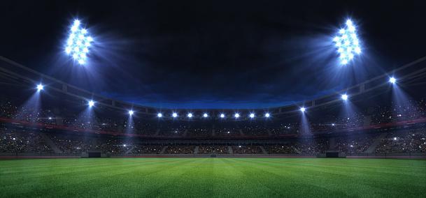 universal grass field stadium illuminated by spotlights and empty green grass playground 1132037666
