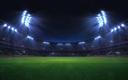 universal grass stadium illuminated by spotlights and empty green grass playground 1130905980