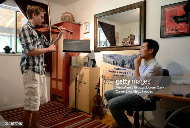 Universal High School student Alexi Whitsel has a violin lesson with Keynes Chen at Flatirons Strings Academy Tuesday July 30 2013 in Boulder Alexi...