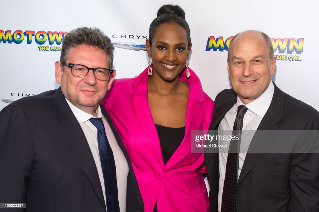 Universal Music Group Chairman & CEO Lucian Grainge, Head of Motown Ethiopia Habtemariam and Univeral Media Group East Coast Label Chairman & CEO Barry Weiss attend the after party for the Broadway opening night for 'Motown: The Musical' at Roseland Ballroom on April 14, 2013 in New York City.