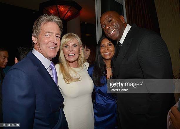 Universal Music Group Distribution CEO Jim Urie and wife Nanette with Cookie Johnson and Magic Johnson attend the 55th Annual GRAMMY Awards PreGRAMMY...