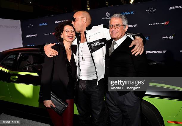 Universal Pictures Chairman Donna Langley actor Vin Diesel and Ron Meyer Vice Chairman of NBCUniversal attend Universal Pictures' Furious 7 premiere...