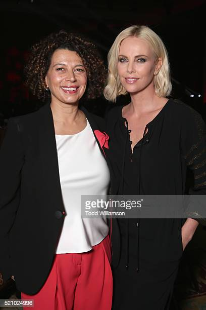 """Universal Pictures Chairman Donna Langley and actress Charlize Theron attend the 2016 Will Rogers """"Pioneer of the Year"""" Dinner Honoring Donna Langley..."""