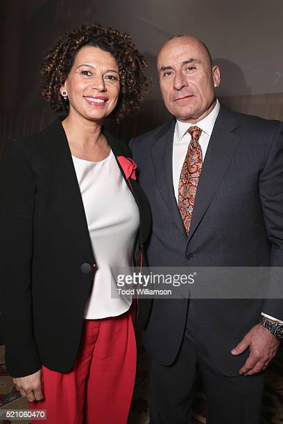 """Universal Pictures Chairman Donna Langley and NBCUniversal President of Distribution for Focus Features Jim Orr attend the 2016 Will Rogers """"Pioneer..."""