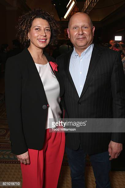 """Universal Pictures Chairman Donna Langley and producer Chris Meledandri attend the 2016 Will Rogers """"Pioneer of the Year"""" Dinner Honoring Donna..."""