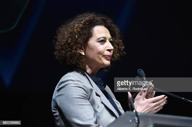 Universal Pictures Chairman Donna Langley speaks onstage at CinemaCon 2017 Universal Pictures Invites You to a Special Presentation Featuring Footage...