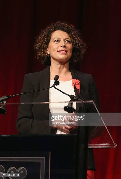 """Universal Pictures Chairman Donna Langley speaks onstage during the 2016 Will Rogers """"Pioneer of the Year"""" Dinner Honoring Donna Langley at Caesars..."""