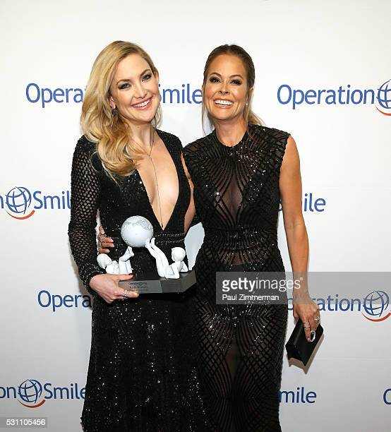 Universal Smile Award Recipient actress Kate Hudson and TV personality Brooke BurkeCharvet attend the 2016 Operation Smile Gala at Cipriani 42nd...