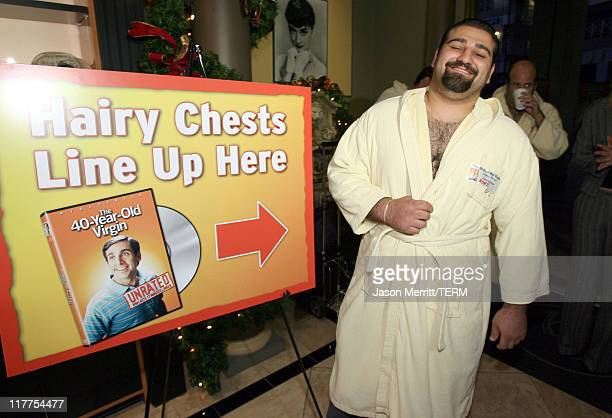 """Universal Studios Home Entertainment is looking for a few hiry men. Vache Sevojian, bares his hairy chest in pride for the """"Hairiest Chest Waxing..."""
