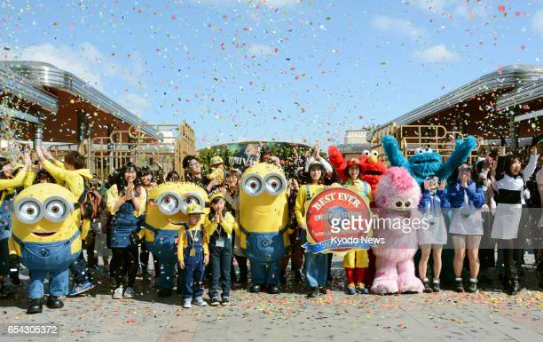 Universal Studios Japan in Osaka celebrates on March 17 after attracting a record number of visitors in fiscal 2016 The theme park's operator expects...