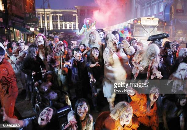 Universal Studios Japan in Osaka shows Street Zombies to the media on Sept 7 part of Halloween Horror Night events scheduled to begin on Sept 9...