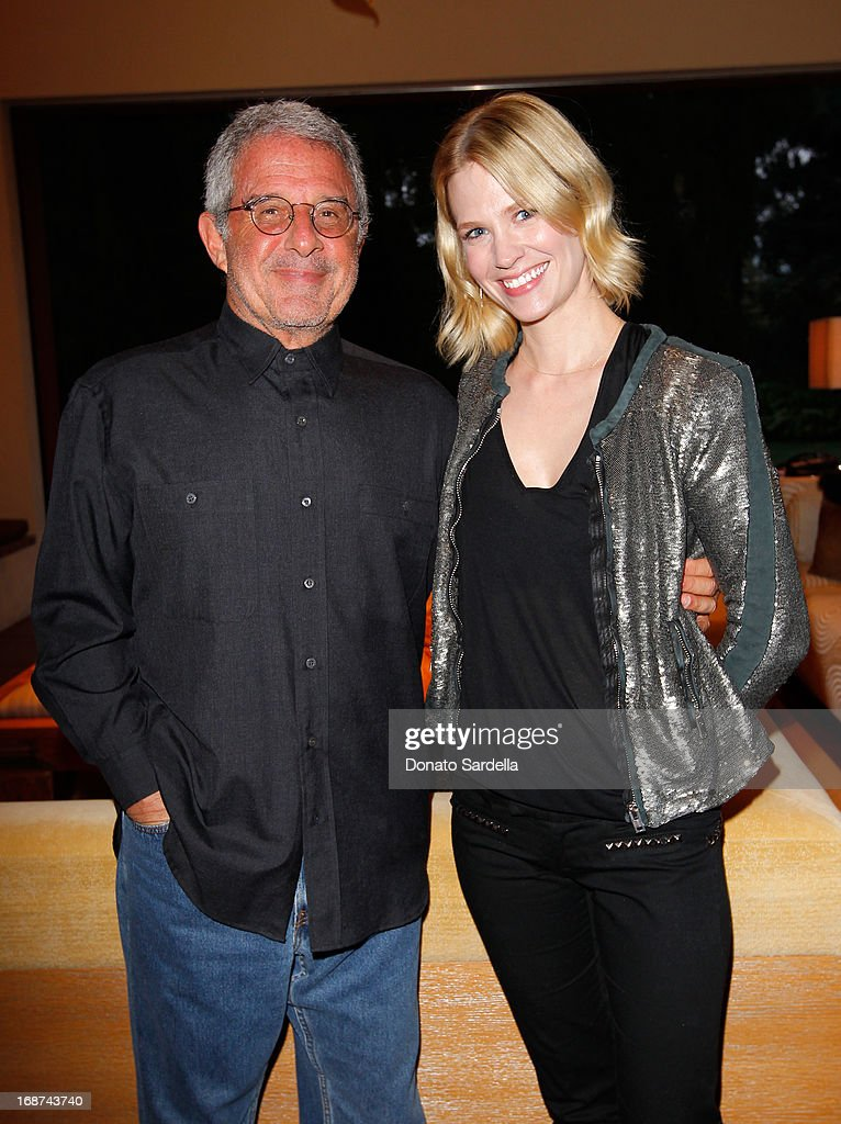Universal Studios President Ron Meyer (L) and actress January Jones attends a celebration of Jennifer Meyer's CFDA Swarovski nomination hosted by Rodarte at the residence of Joel and Karyn Silver on May 11, 2013 in Los Angeles, California.
