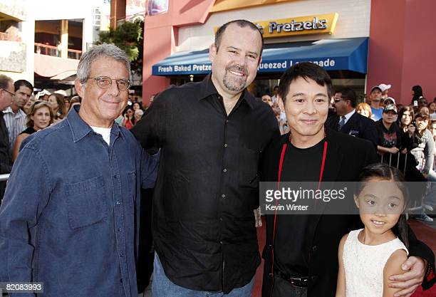 Universal's Ron Meyer Marc Shmuger actor Jet Li and his daughter Jane pose at the premiere of Universal Picture's The Mummy Tomb of the Dragon...