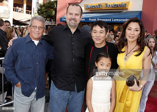 Universal's Ron Meyer Marc Shmuger actor Jet Li his daughter Jane and actress Michelle Yeoh pose at the premiere of Universal Picture's The Mummy...