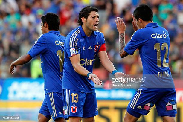Universidad de Chile players celebrate after scoring during a match between U de Chile and Ñublense as part of the Torneo Clausura at Santa Laura...