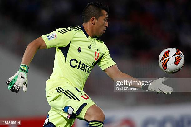 Universidad de Chile's Luis Marin play the ball during soccer match against Lanus as part of Copa Total Sudamericana at Nacional Stadium on September...