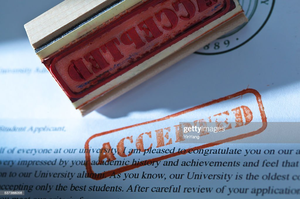 University Application Acceptance Notification Letter with ACCEPTED : Stock Photo