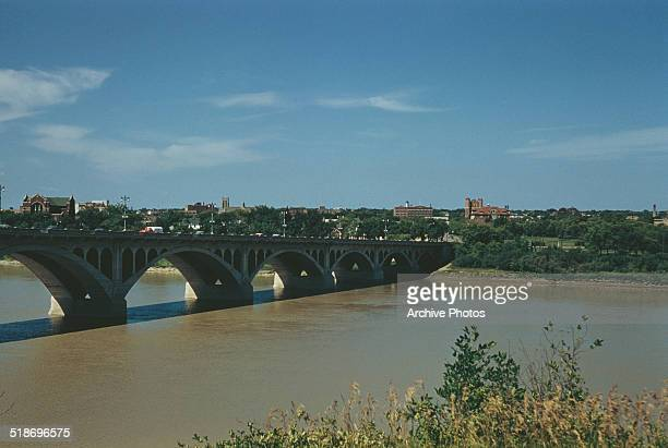 University Bridge across the South Saskatchewan River in Saskatoon Saskatchewan Canada circa 1960