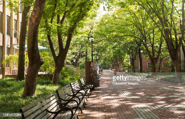 University Campus with few students during pandemic Fall 2020 University of Pennsylvania Philadelphia USA