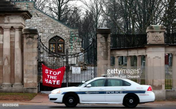 A University City police car patrols in front of Chesed Shel Emeth Cemetery in University City on Tuesday Feb 21 2017 where almost 200 gravestones...