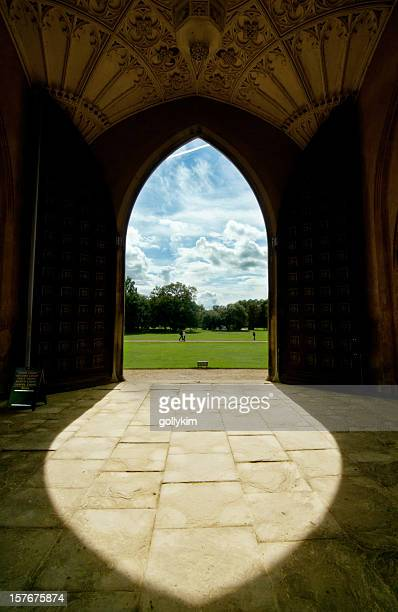 university entrance in cambridge - cambridge university stock pictures, royalty-free photos & images