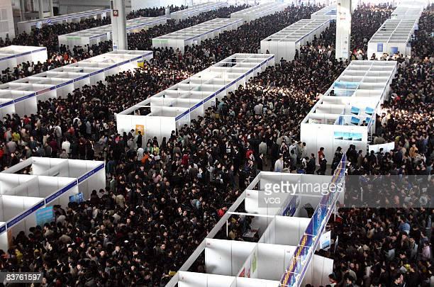 University graduates hunt for jobs at a job fair on November 20, 2008 in Nanjing, east China's Jiangsu province. China's Human Resources and Social...