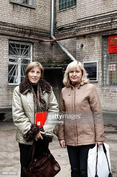 University lecturer Irina Kuchvalskaya left and human rights activist Galina Skorokhodin pose in Gomel Belarus Friday October 20 2006 It's stability...