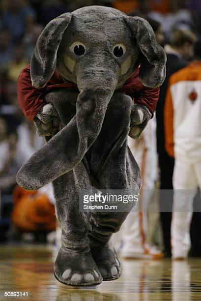 University of Alabama Crimson Tide mascot Big Al entertains the fans in the third round game of the NCAA Division I Men's Basketball Tournament...